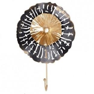 Wieszak metalowy kwiatek czarno-złoty 1 haczyk 28 cm