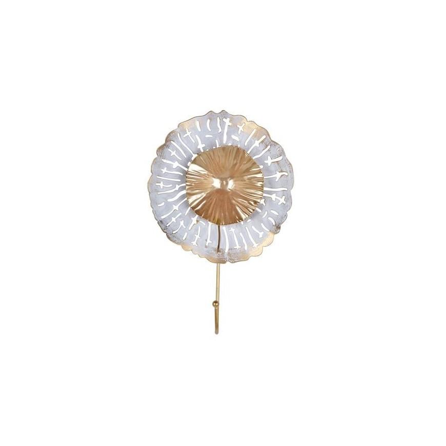 Wieszak metalowy kwiatek biało-złoty 1 haczyk 28 cm