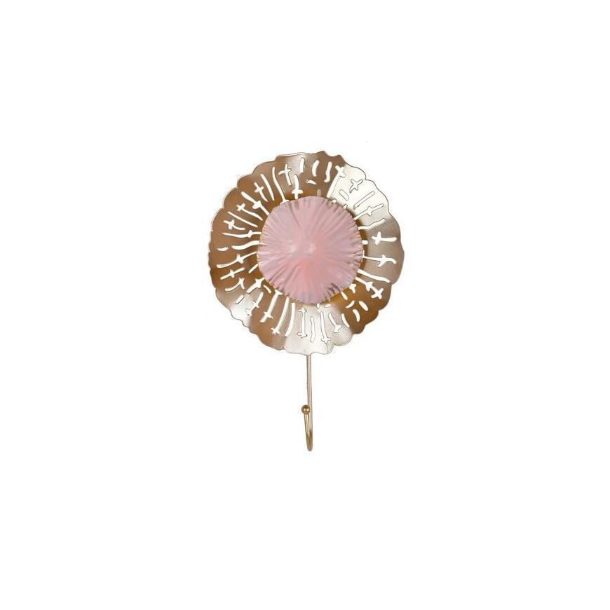 Wieszak metalowy kwiatek różowo-złoty 1 haczyk 28 cm
