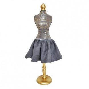 Manekin dekoracyjny szary ze spódnicą w złote wzory 72 cm