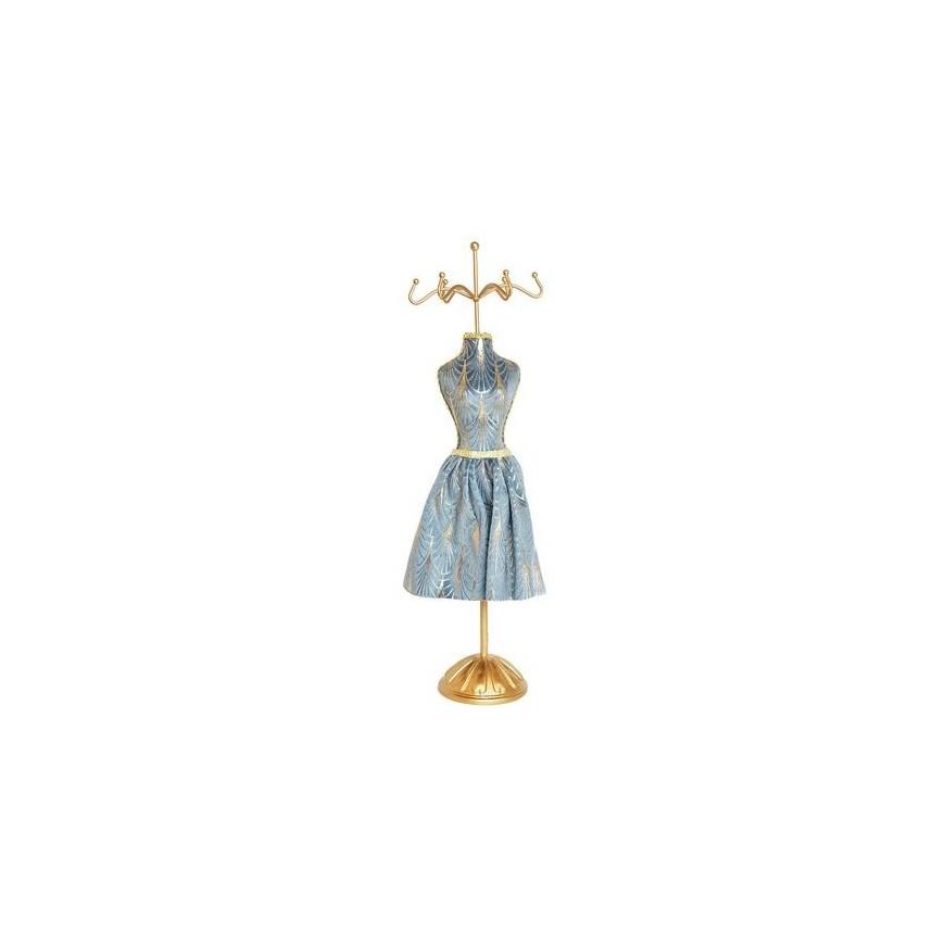 Manekin stojak na biżuterię szary ze spódniczką 41 cm