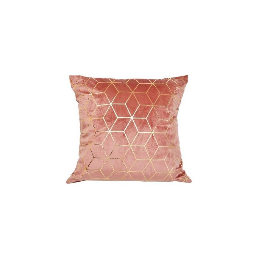 Poduszka welurowa ciemno różowa 45x45 złote wzory