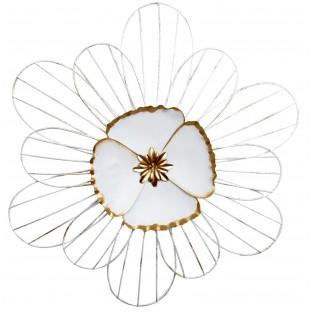 Dekoracja ścienna kwiat biało złoty
