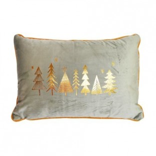 Poduszka świąteczna szara welurowa prostokątna z choinkami 45x30 cm