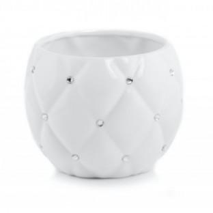 Osłonka biała kula GLAMOUR z cyrkoniami 13x12.5