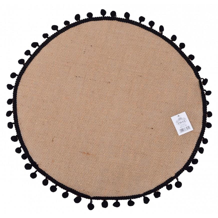 Podkładka na stół mata jutowa okrągła 38 cm z pomponami