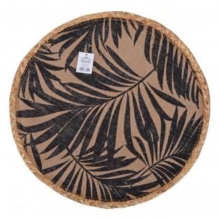 Podkładka na stół mata jutowa okrągła 38 cm czarne liście