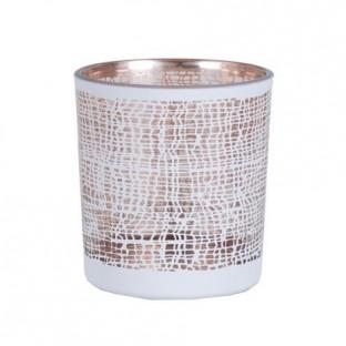 Świecznik biały diamentowy szklany mały 8 cm