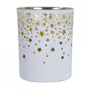 Świecznik szklany biały w złote gwiazdki duży 12,5 cm