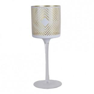 Świecznik szklany biały w złote wzory na nóżce 25 cm