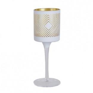 Świecznik szklany biały w złote wzory na nóżce 20 cm