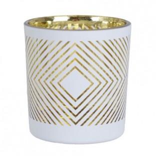 Świecznik biały szklany w złote wzory mały 8 cm
