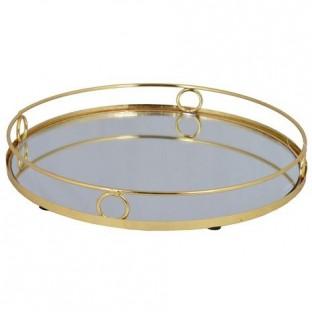 Taca złota z lustrem okrągła 27 cm wz1