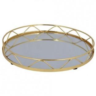 Taca złota z lustrem okrągła 27 cm wz2