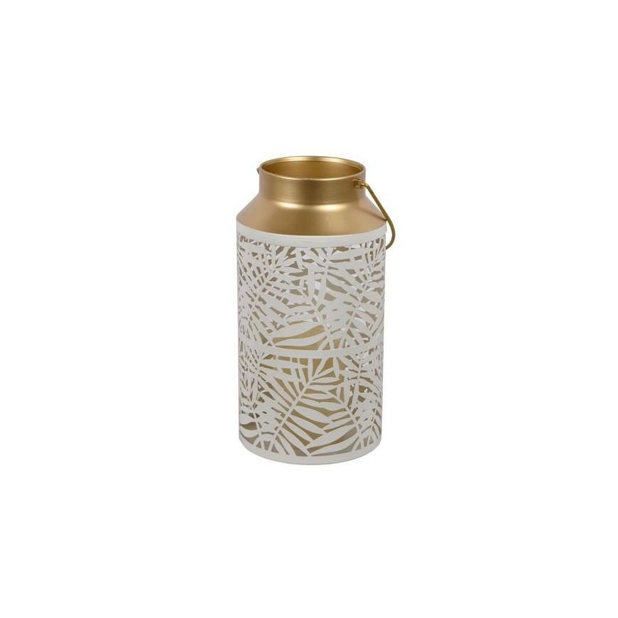 Lampion metalowy wysoki LED ażurowy biało-złoty 29 cm