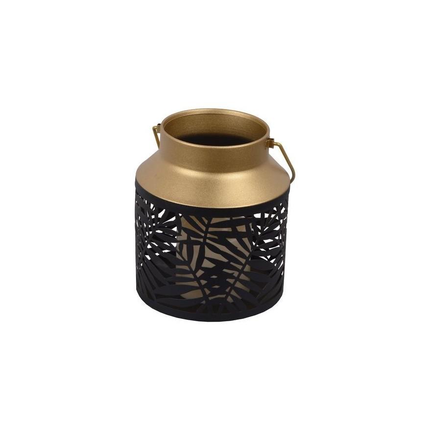 Lampion metalowy mały LED ażurowy czarno-złoty 18 cm