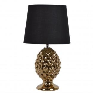 Lampa stołowa ceramiczna złota z czarnym abażurem 44 cm