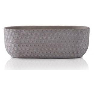 Osłonka ceramiczna szara rynna ze wzorem 24x9 cm