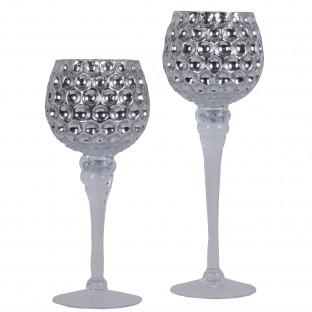 Świecznik szklany KIELICH srebrny 2 szt 25/30 cm