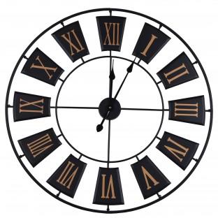 Zegar metalowy okrągły ścienny czarno złoty 70 cm