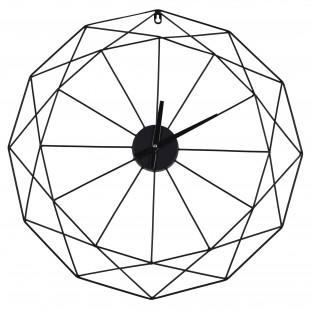 Zegar metalowy okrągły ścienny czarny geometryczny 60 cm