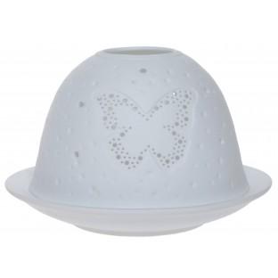 Lampion ceramiczny biały ażurowy z motylem 12x7,5 cm