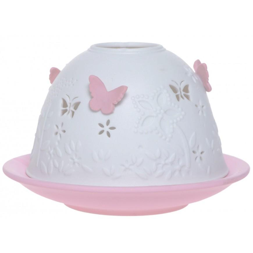 Lampion ceramiczny w motylki różowy 7,5 cm