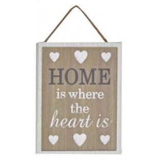 Obrazek mały z napisem Home is 15x20 cm