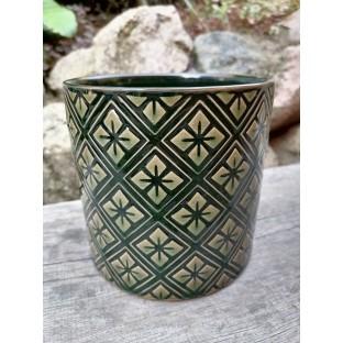 Osłonka zielona ceramiczna 16x15 cm /wz4/