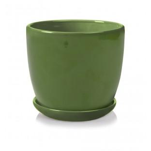 Doniczka zielona z podstawkiem 20x19 cm