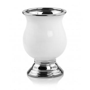 Wazon ceramiczny biało srebrny 21 cm URNA