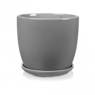 Doniczka ceramiczna szara z podstawkiem 17 cm