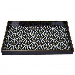 Taca prostokątna czarno - złota wzory 45x31 cm