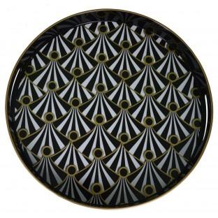 Taca okrągła czarno - złota we wzory 37 cm