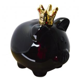 Skarbonka świnka czarna w koronie 14x15 cm