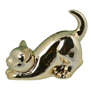 Skarbonka kot kotek złoty ceramiczna 18x15 cm