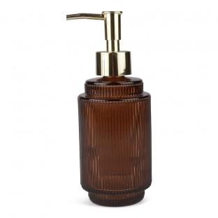 Dozownik do mydła w płynie szklany brązowy 16 cm