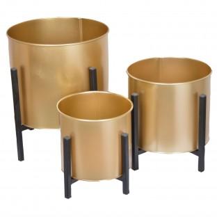 KWIETNIK metalowy złoty na stojaku komplet 3 szt