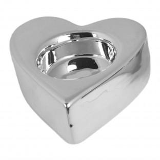Świecznik ceramiczny serce srebrny na tealighta 9,5 x 8 cm