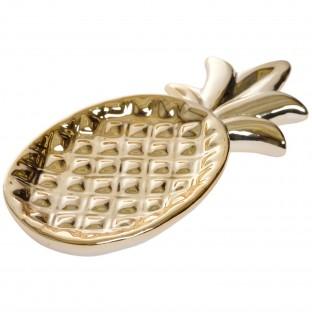 Talerz ANANAS złoty 23,5 cm ceramiczny