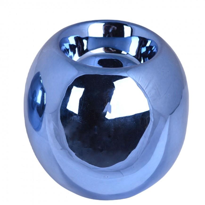 Świecznik ceramiczny kula niebieski 7,5 cm