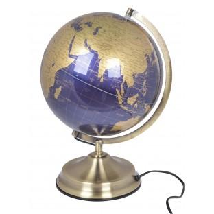 Globus złoto niebieski podświetlany 25 cm