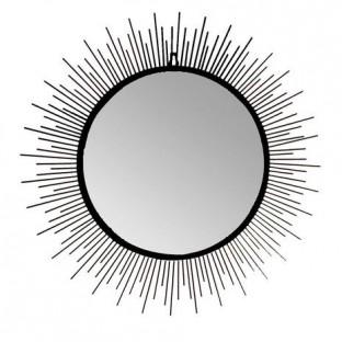 Lustro ścienne metalowe czarne słońce 80 cm DUŻE