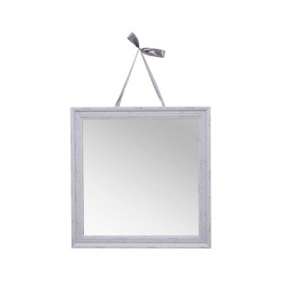 Lustro na wstążce kwadratowe 47x47 cm szare