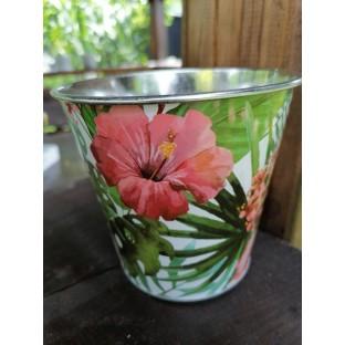 Osłonka cynkowa w kwiaty 12x11 cm