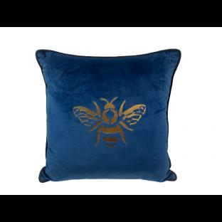 Poduszka welurowa granatowa złota pszczoła 40x40
