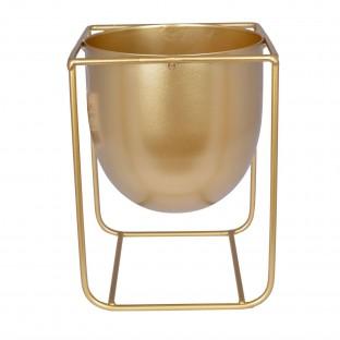 Osłonka doniczka złota metalowa na nóżkach 20 cm
