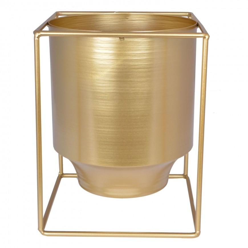 Osłonka doniczka złota metalowa na nóżkach 22 cm
