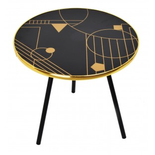 Stolik podstawka pod kwiaty czarny złoty LOFT 30x30
