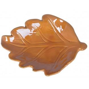 Talerz miseczka podstawka żółty liść ceramiczny 17 cm